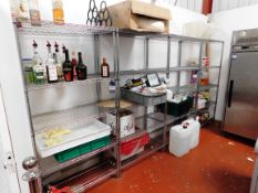 5x Adjustable Wire Shelving Units and Contents (Various Sizes)