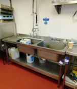 Stainless Steel Twin Deepwell Sink Unit with Drainer and Flexitap Aprx(1800x650)
