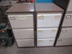 2 x Roneo Vickers three draw filing cabinets (no keys)