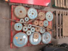 Pallet of Metal Weight Lifting Plates with 1 bar and 2 dumbell bars