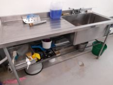 Stainless Steel Deep Well Sink Unit (Approximately 1800x670) (please note this lot also forms part