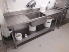 Stainless Steel Deep Well Sink Unit with Twin Drainer (Approximately 1800x650) (please note this lot