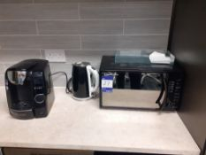 Bosch Tassimo coffee machine, Russell Hobbs microwave oven, cutlery, and glassware. Location –