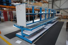 Double sided assembly station, comprising 2 x various worktables, and 2 x lengths of roller conveyor