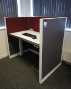 Single person office pod, with Adapt cantilever rise and fall desk (1220 x 780) Purchasers to ensure