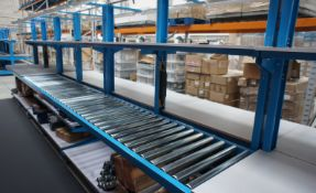 Double sided assembly station, comprising 4 x various worktables and roller conveyor (4.4m x 690mm),