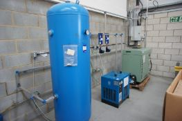 Complete compressed air system, comprising Sulair AS1508 packaged compressor (3876 hours, Serial