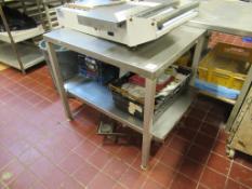 2 x S/S Topped Aluminium Framed Prep Tables 1830 x 920 x 870mm High & 900 x 750 x 830mm High