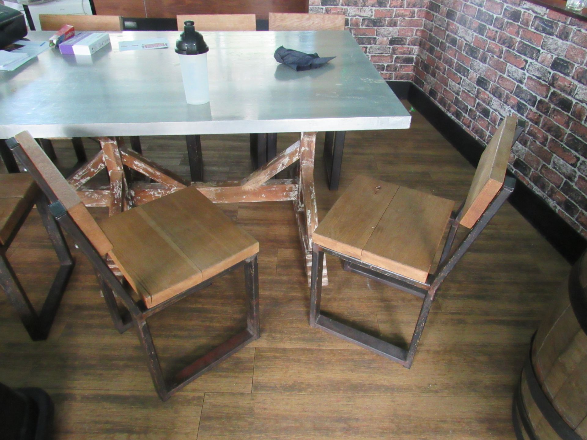 Chic 8 Person Table with 8 Chairs - Image 4 of 6