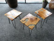 3 Artistic Coffee Tables with Smashed Glass Vein