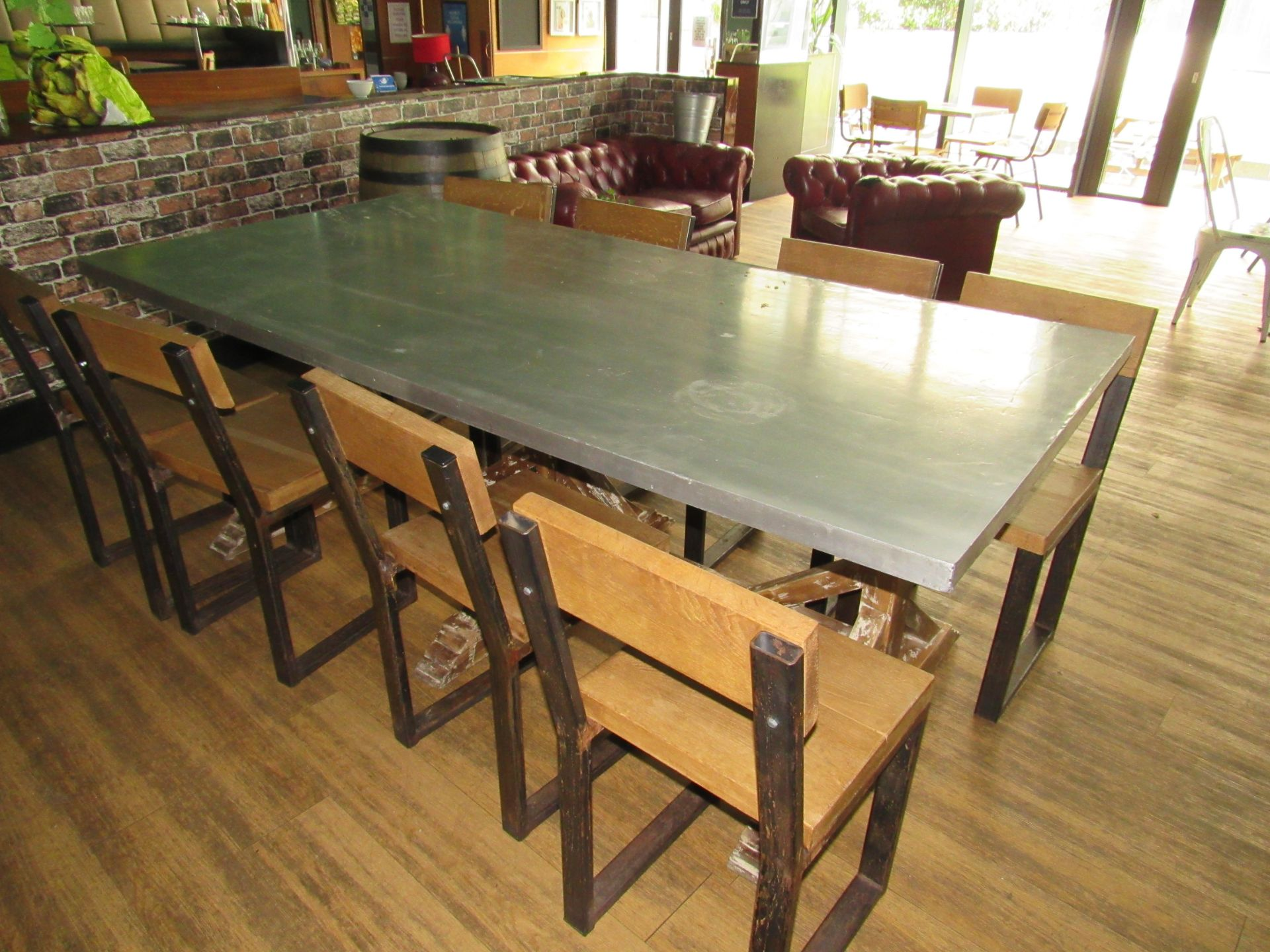 Chic 8 Person Table with 8 Chairs - Image 3 of 6