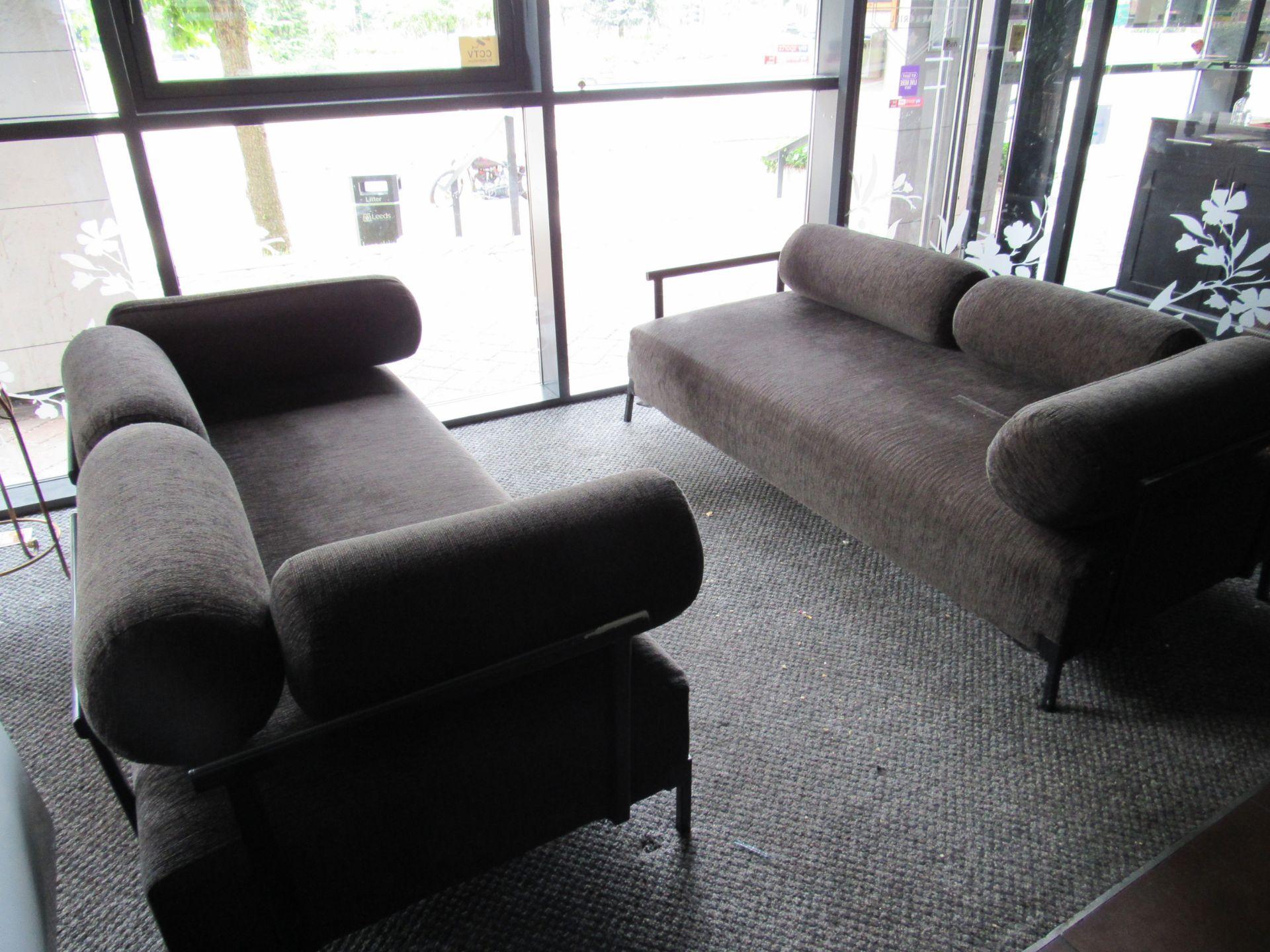 2 Steel Framed Upholstered Sofas