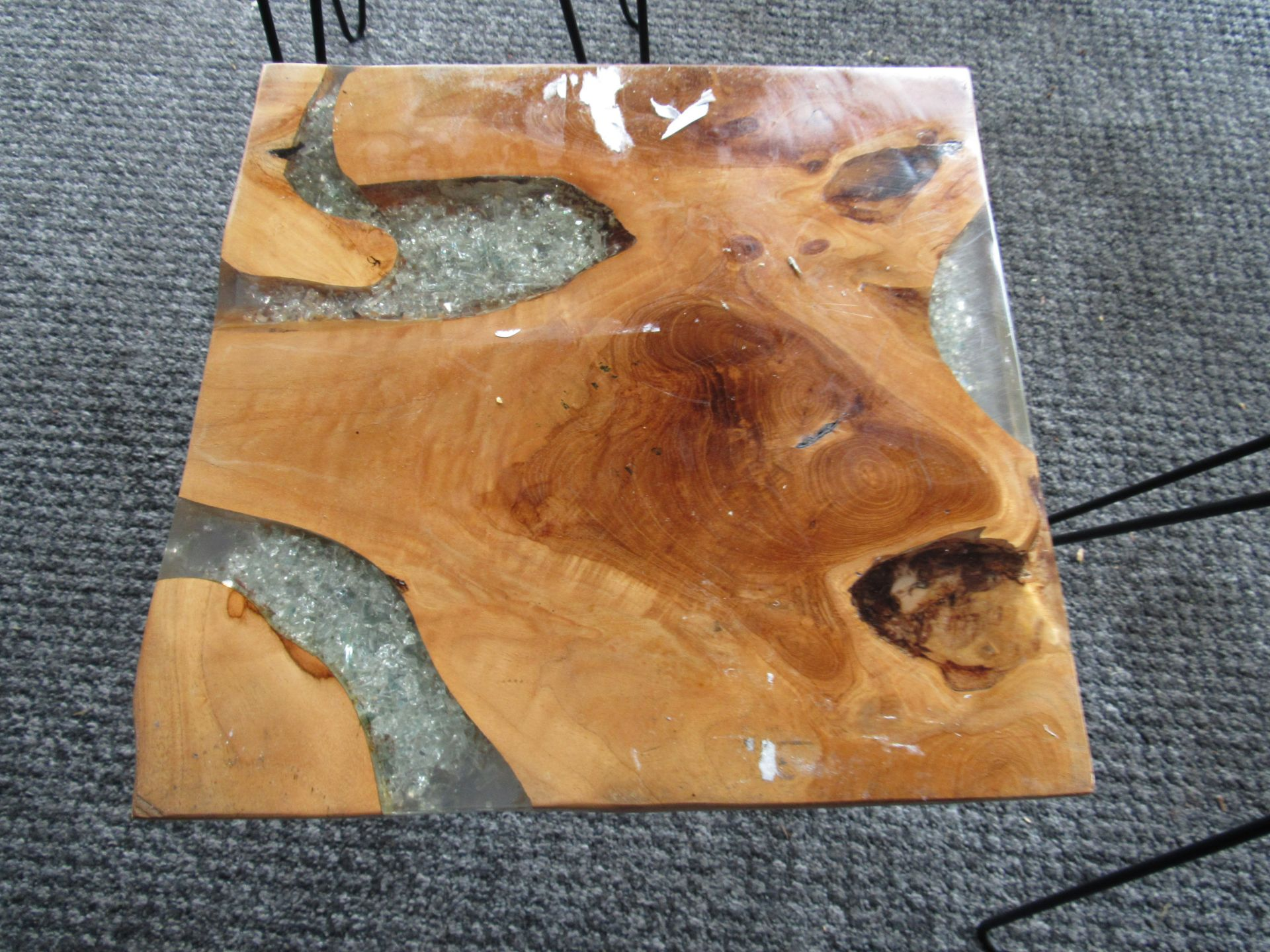 3 Artistic Coffee Tables with Smashed Glass Vein - Image 3 of 4