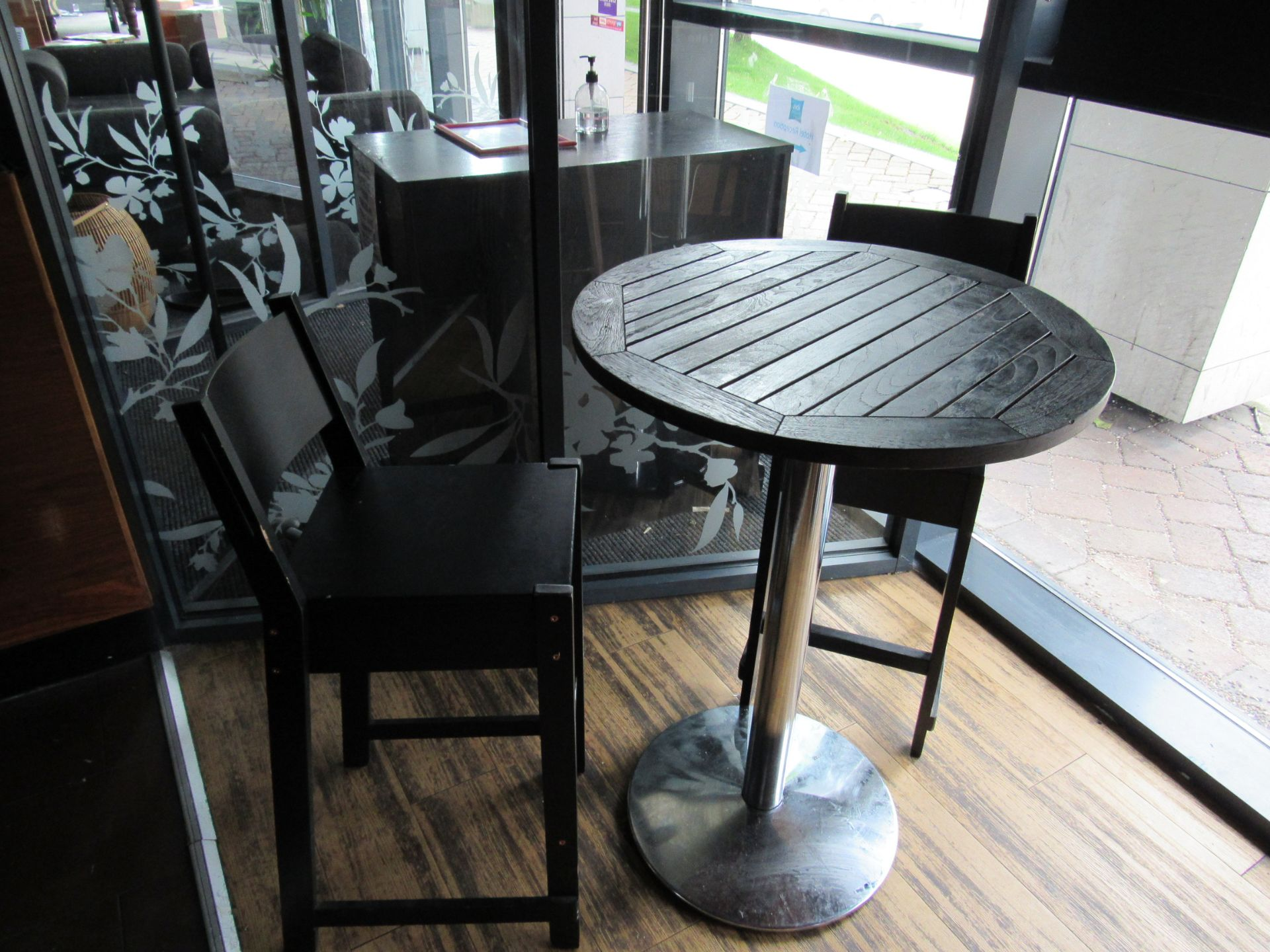 Poser Table with 2 Bar Chairs