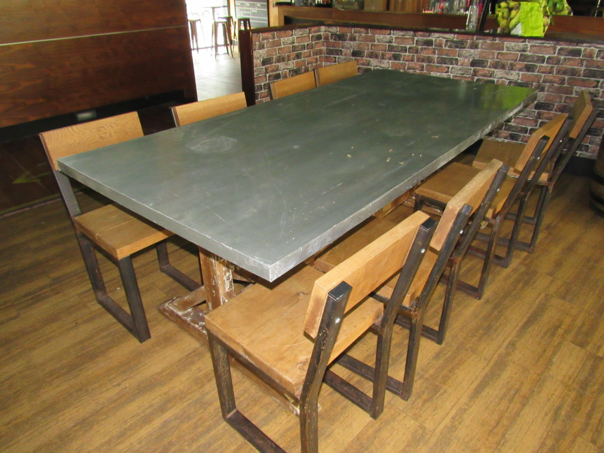 Chic 8 Person Table with 8 Chairs - Image 2 of 6