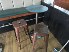 Bar Table with 2 Coffee Effect Steel Stools