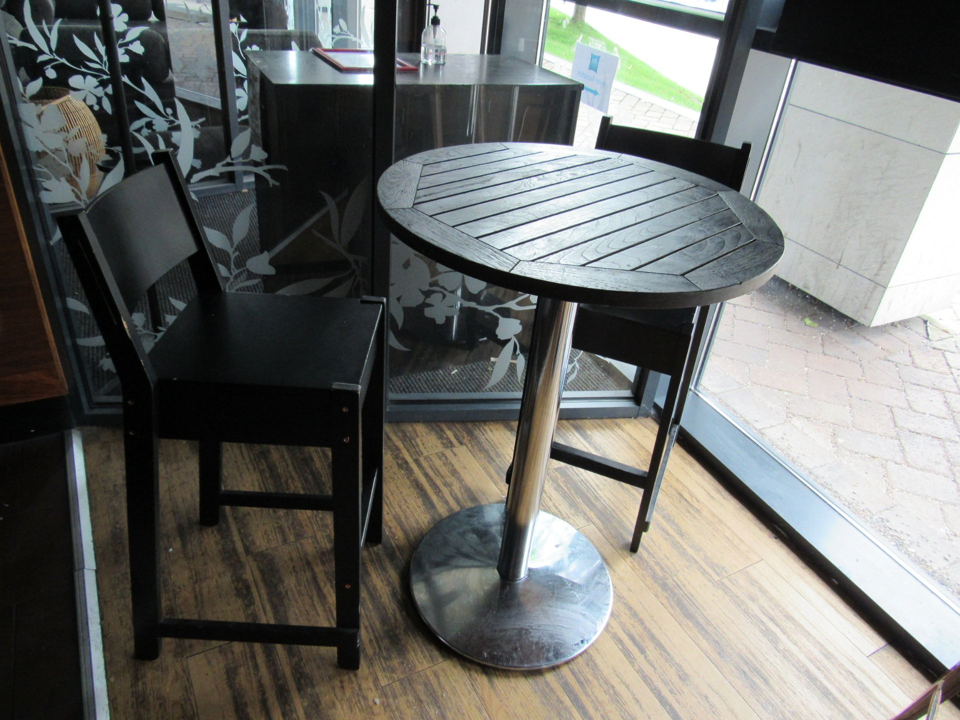 Poser Table with 2 Bar Chairs - Image 2 of 2