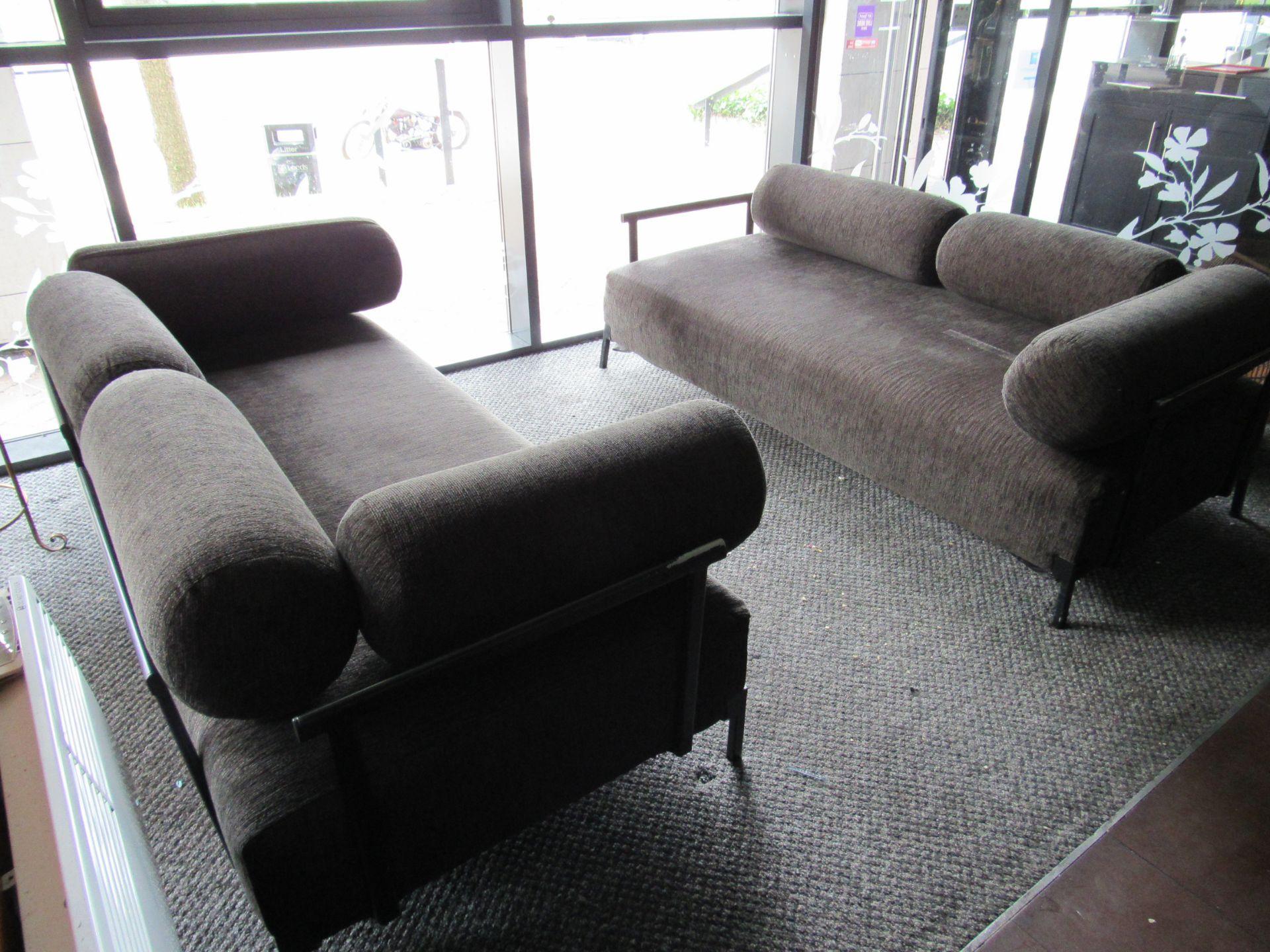2 Steel Framed Upholstered Sofas - Image 2 of 4