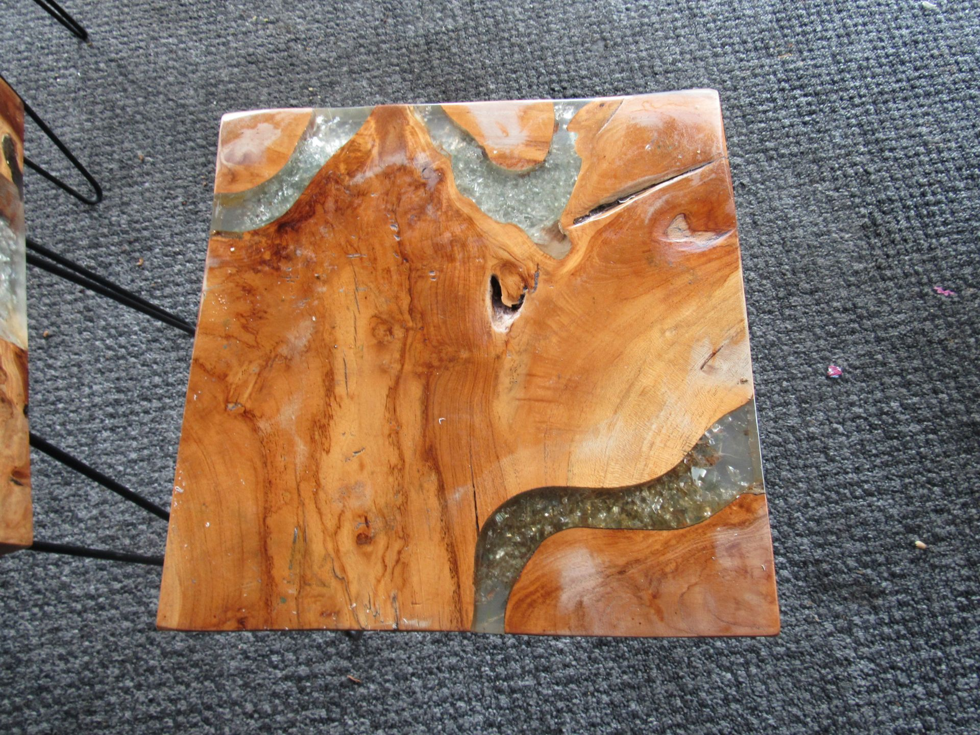 3 Artistic Coffee Tables with Smashed Glass Vein - Image 4 of 4