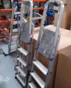 2 Werner Aluminium Folding Platform Step Ladders