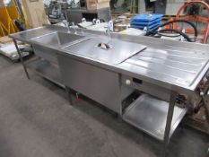 Stainless Steel Double Sink Unit with Splashback