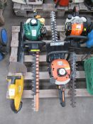 4x Hedge trimmers (3x petrol, 1x Battery- No Charger)