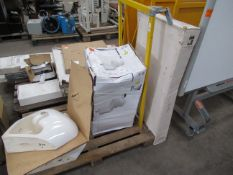 Toilet (boxed) and brackets with two unused Sink Basins