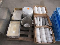 7x s/s trays with lids together with bucket, insulated aluminium container and 3x boxes of various