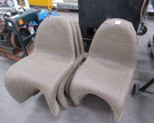 5x Wicker Style Garden Chairs