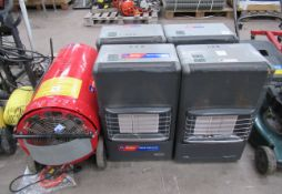 4x Mobile Gas Heaters with a Mobile Space Heater