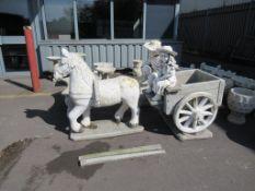 Border stone horse and cart garden ornament