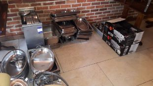 Quantity of stainless steel Gastronorm Pans, Lids & Chafing Dishes