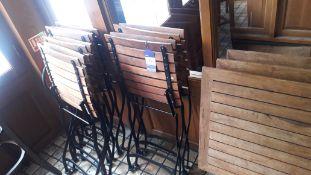 3 timber slat Folding Tables, 600 x 600mm & 6 timber slat Folding Chairs