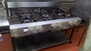 Stainless steel commercial 6-burner gas Range on stand with shelf under (disconnection required by