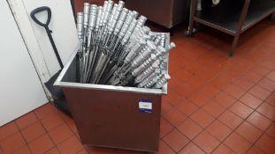 Approx 200 x Churrasco BBQ skewers to aluminium ingredients bin