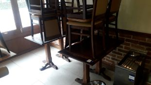 2 hardwood tables with twin pedestal legs, 1,100mm x 670mm with 8 reclaimed Peroba wooden dining