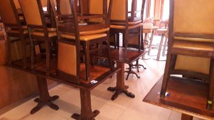 4 hardwood tables on twin pedestal legs (2 x 1,550mm x 700mm and 2 x 1,100mm x 700mm) with 20