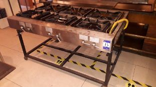 Stainless steel unbadged commercial 6-burner gas Range on stand (disconnected)