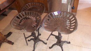 3 vintage cast iron adjustable height tractor seat stools