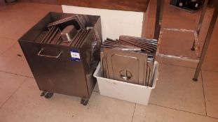 Quantity of stainless steel Gastronorm Pans, Lids & aluminium Ingredients Bin