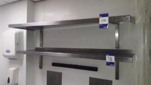 3 x Stainless steel wall mounted Shelves (2 x 1,300mm & 1 x 1,400mm)