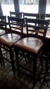 7 x Frazoni reclaimed peroba wood Bar Stools with mustard faux leather upholstered seat