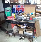 Steel workbench (Approx. 1200 x 600), with overhea