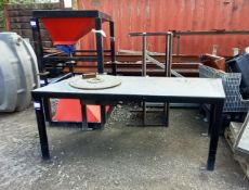 4x Various Sized Work Benches. Approximate Sizes: 1x (2050 x 870mm), 2x (1200 x 970mm), 1x (1250 x