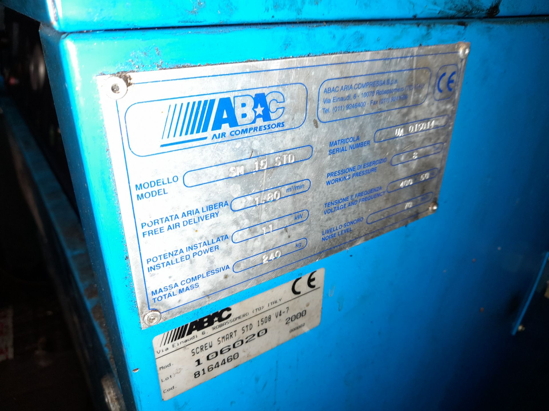 ABAC Smart 1508 Standard Packaged Air Compressor - Image 2 of 2