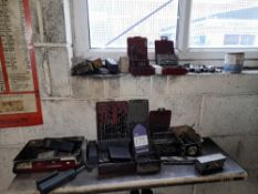 Quantity of Various Drills, Taps, Countersinks to 2 Shelves