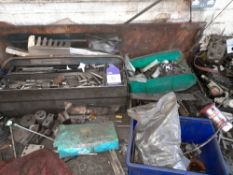 Contents to 2 Timber Framed Work Benches, inc. Steel Blocks, Spare Parts etc.