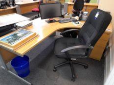 3 x office workstations, each comprising – corner desk, pedestal drawer & chair