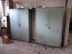 2 – Metal double door cupboards, and contents