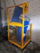 Skid mounted forklift metal access cage, on castors